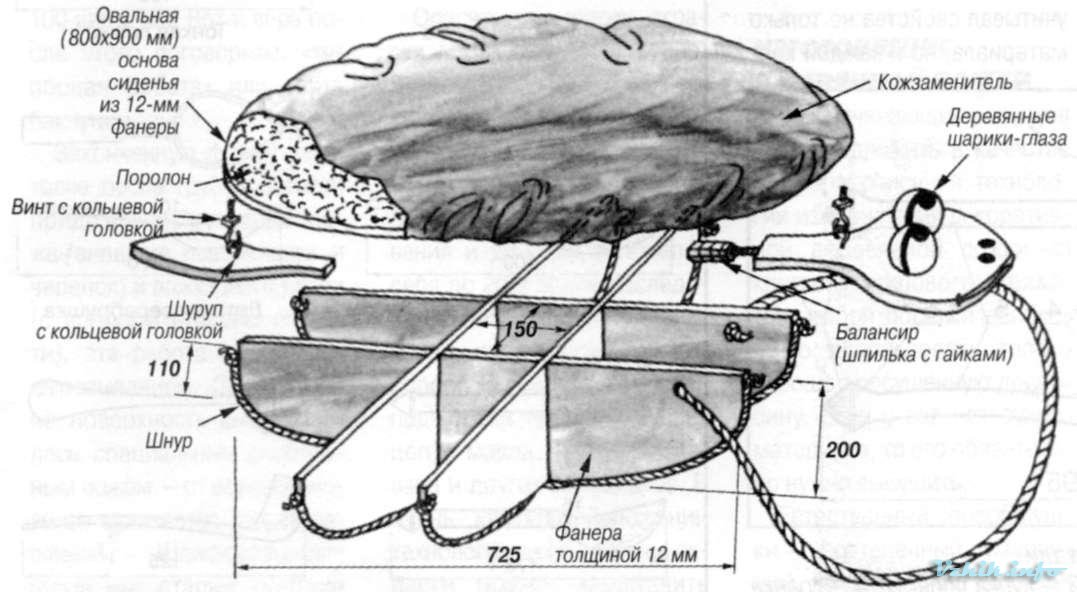 Пуфик-качалка. Схема сборки